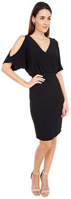 Adrianna Papell Pin Tuck Blouson Dress with Beaded Trim (Black) Women's Dress