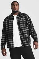 BoohoomanBoohooMAN Mens Black Big & Tall Shirt With Windowpane Check, Black