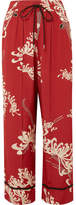 McQ Printed Crepe De Chine Track Pants - Red