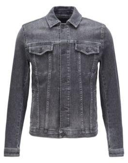 BOSS Regular-fit jacket in grey super-stretch denim
