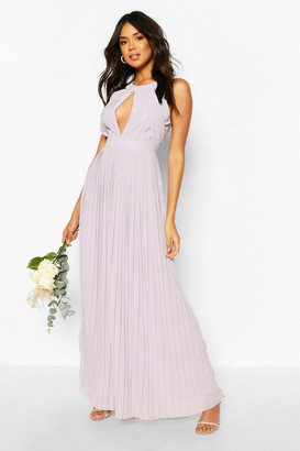 boohoo Bridesmaid Occasion Pleated Panel Detail Maxi Dress