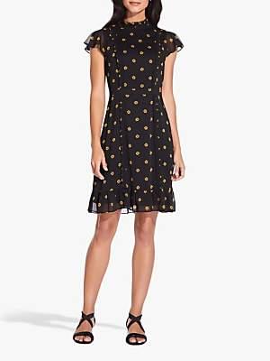 Adrianna Papell Daisy Dot Dress, Yellow/Black