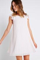 BCBGeneration Flutter-Sleeve Pleated Dress - White
