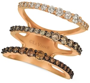 LeVian Le Vian Ombre Chocolate Diamond Three Band Statement Ring (1-1/2 ct. t.w.) in 14k Rose Gold