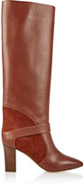 Chloé Suede-paneled leather knee boots