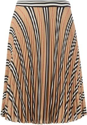 Burberry Pleated Stripe Skirt