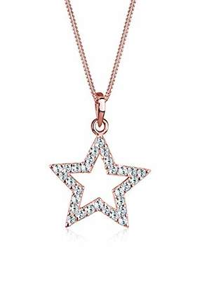 Elli Star Swarovski Crystals 925 Sterling Silver Rose Gold Plated Necklace of Length 45cm