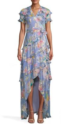Nicole Miller La Fleur Silk Lurex High Low Wrap Dress