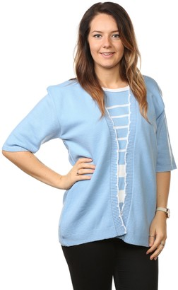 Bay Ecom Uk Ladies Womens Striped Twin Sets Knitted Cardigans Short Sleeve Sweaters Jumpers Tops Plus Sizes (20-22