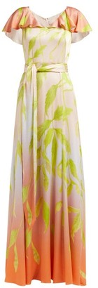 Peter Pilotto Leaf-print Silk-blend Cloque Gown - Womens - Green Multi