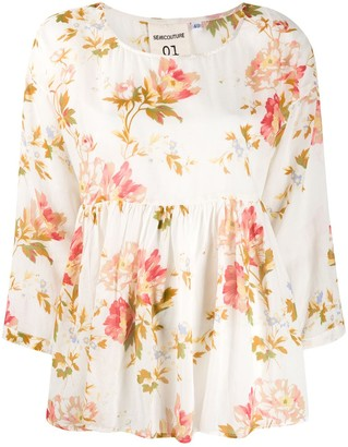 Semi-Couture Floral Print Flared Blouse