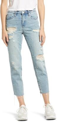 Blank NYC Imitation Pearl Ripped High Waist Raw Hem Crop Jeans
