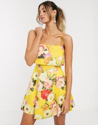 Asos Design DESIGN crop top scuba skater mini dress in yellow floral print