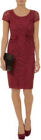 Dorothy Perkins Raspberry lace pencil dress