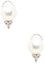 14K White Gold, South Sea Pearl & 0.30 Total Ct. Diamond Stud Earrings