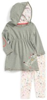 Infant Girl's Burt's Bees Baby Embroidered Organic Cotton Hooded Dress & Leggings Set