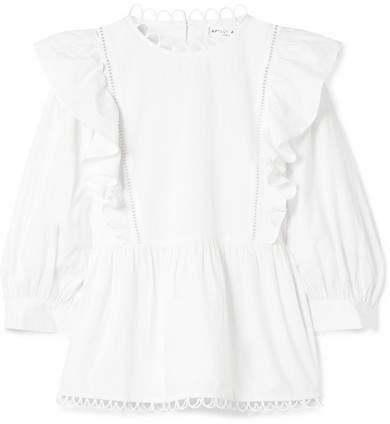 Apiece Apart Bella Ruffled Cotton-voile Blouse - White