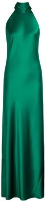 Galvan Sienna emerald halterneck satin gown