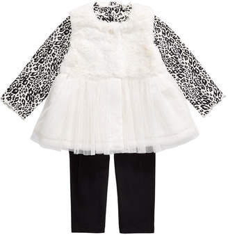 First Impressions Baby Girls 3-Pc. Tunic, Leggings & Faux-Fur Vest Set