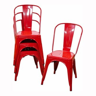 Ebern Designs Ramford Metal Slat Back Stacking Side Chair in Red (Set of 4