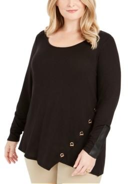 Belldini Plus Size Toggle-Trim Sweater