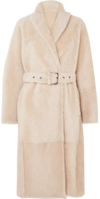 Brunello Cucinelli Belted Reversible Shearling Coat - Beige