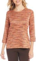 Allison Daley Petites 3/4 Roll-Tab Sleeve Space-Dye Knit Top