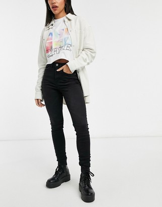 JDY Jona high waisted skinny jeans in black