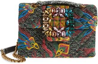 Kurt Geiger Mayfair Embroidered Tweed Crossbody Bag
