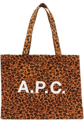 A.P.C. Diane Logo And Leopard-print Canvas Tote Bag - Leopard