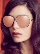 Linda Farrow Luxe Women's 18K Rose Gold Oversized Metal Aviator Frame