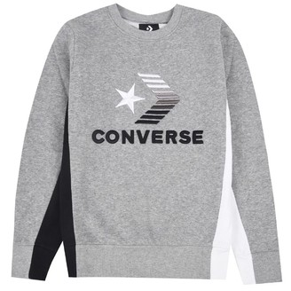 Converse Infant Boys 3D Embroidered Colourblock Crew Neck Sweat Dark Grey Heather