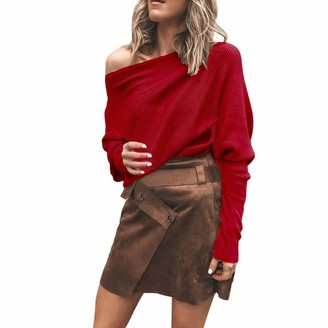 iHAZA Off Shoulder Knit Tops Women Long Sleeve Jumper Sweatshirt Casual Blouse Red