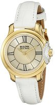 Bulova Accu Swiss Women's 65R163 Diamond White Strap Watch