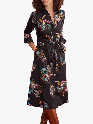Boden Isodora Floral Midi Shirt Dress, Black