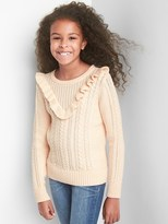 Gap Ruffle cable knit sweater