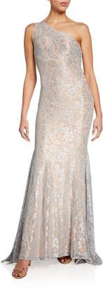 Jovani Stone Embellished One-Shoulder Metallic Lace Gown