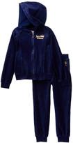Juicy Couture Navy Velour Heart Hoodie & Pants Set (Big Girls)