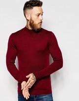 Asos Turtleneck Jumper In Merino Wool Mix - Red