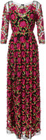 Marchesa floral embroidered gown - women - Nylon/Polyester - 0