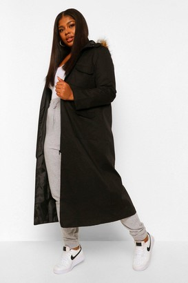 boohoo Plus Maxi Length Faux Fur Trim Hooded Parka