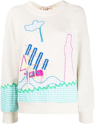Mira Mikati Sail Boat Embroidered Sweatshirt