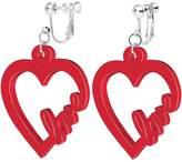 Body Candy Acrylic Heart Full of Love Clip On Earrings