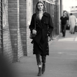 Sandro Double-Sided Wool Trench Coat