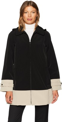 Jones New York Women's Color Block Hooded Rain Topper
