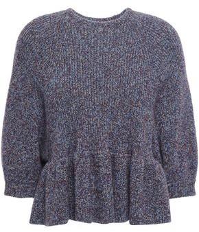 RED Valentino Ruffled Wool-blend Peplum Sweater