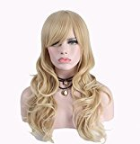 Anxin Long Blonde Wigs with Bangs Heat Resistant Synthetic Wigs for Women with a Free Wig Cap & Gift Wrap (Blonde Pure)