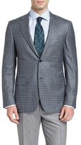 Canali Check Two-Button Sport Coat, Green