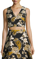 Alice + Olivia Sleeveless Paisley Embroidered Crop Top, Black/Gold