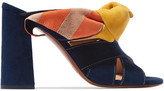 Chloé Nellie Bow-embellished Suede Mules - Midnight blue